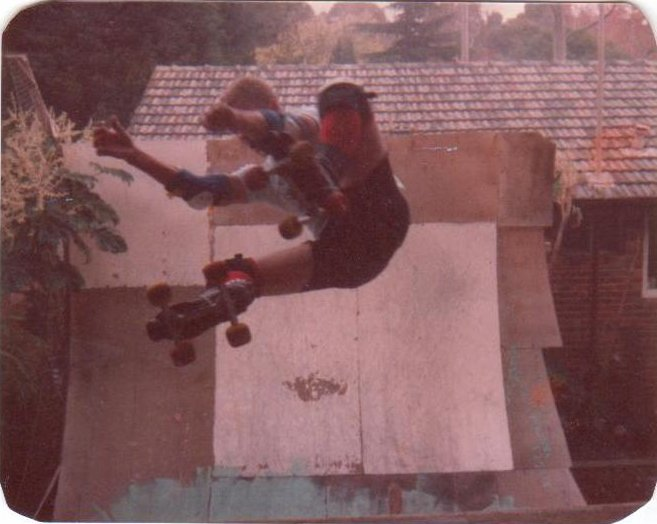 Rider: Joe90<br> Spot: Ben's Ramp<br> Date: 1983<br> Trick: Frontside Air<br> Photographer: Jomby