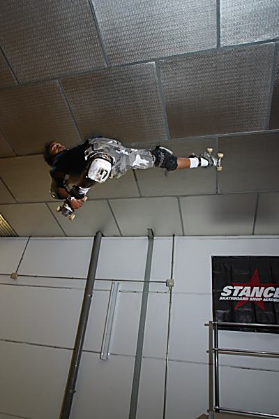 Rider: Julio Memba<br> Location: Madrid Vertical Indoor<br> Trick: Japan one-foot Air<br> Photographer: Esteban Velarde
