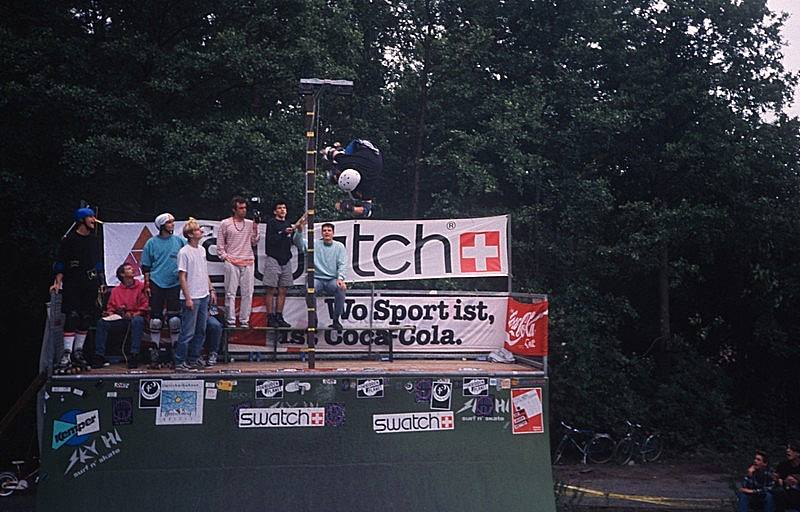 Rider: Perry Gruner<br> Trick: Air<br> Spot: Green Ramp<br> Karlsruhe<br> Photographer: Bernhard Scheffold<br> Date: June 1990